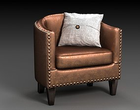 leather 3D asset Harlow Leather Armchair PBR