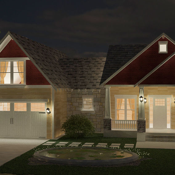 simple home at night