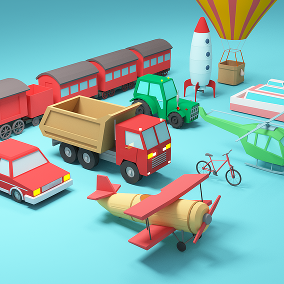 Low-poly vehicles