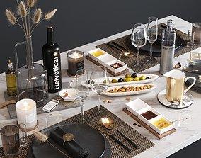 Table serving kitchenware 3D model
