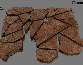 rock stone set 3D asset game-ready