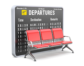 3D Airport seat with flight Information board