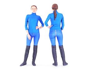 3D model realtime Woman in blue jeans