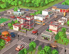3D asset Low Poly Cartoon City Pack