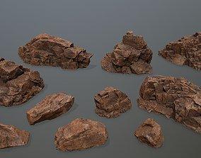 3D asset VR / AR ready desert rocks