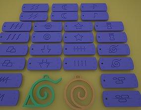 Naruto Village Symbols Keychains-necklace-bracelet 3d