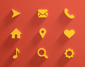 3D model Icon Set Web emoticons