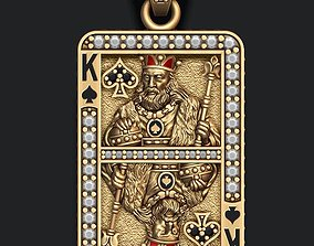Spade king playing card pendant 3D printable model
