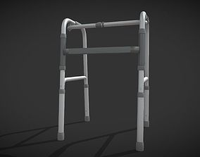 3D model Four legs walker aids black