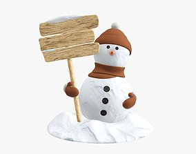 3D model Snowman with wooden signboard