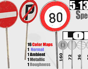 traffic road sign Collection - PBR 3D asset