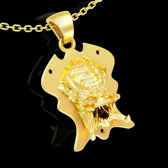 Predator Trophy face pendant jewelry gold necklace medallion 3D print model