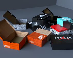 Shoe boxes Nike adidas jordan 3D model