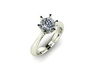 3D print model 6 prong engagement ring