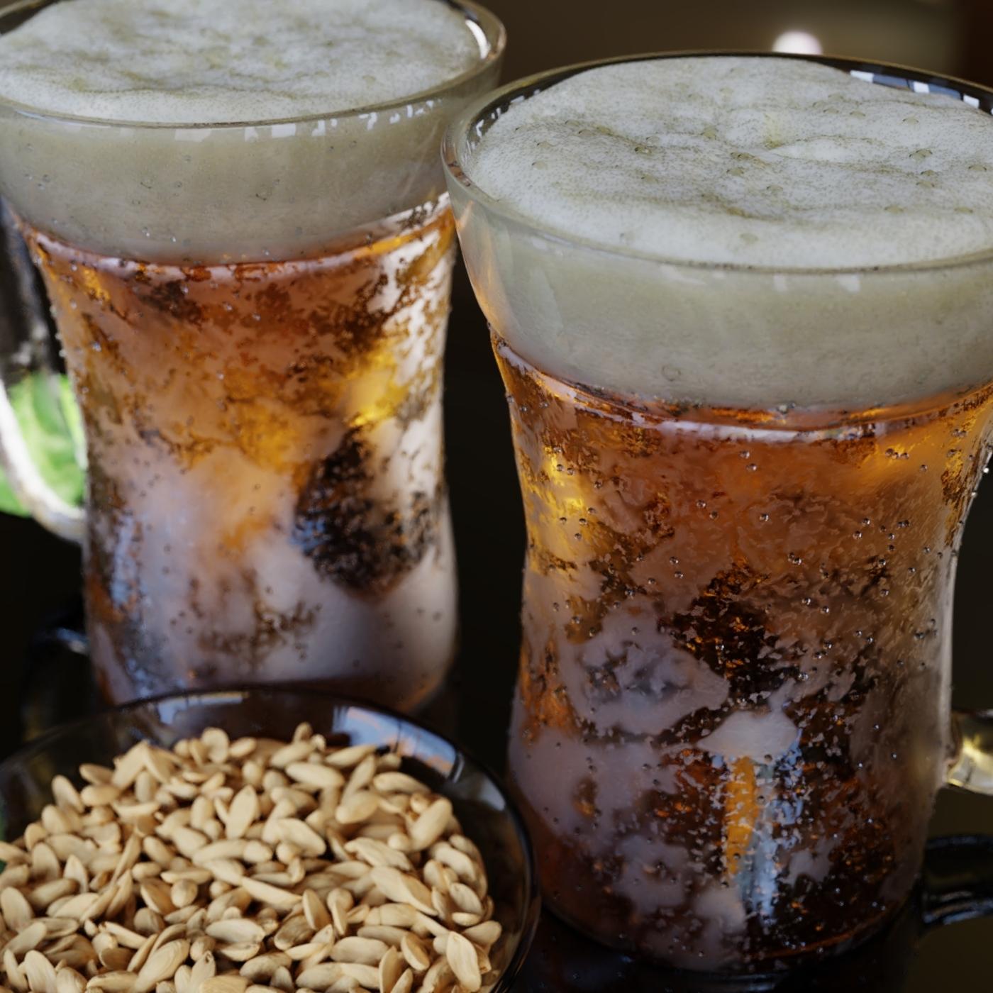 Beer Mugs with Peanuts Bowl