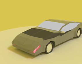 rigged car low poly model