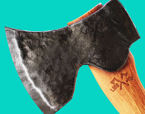 VR / AR ready Carving Axe Low Poly Game Ready 3D model
