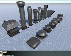 3D asset Roof Elements Set 1