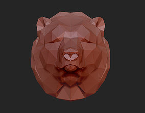 low poly head of a bear 3D printable model