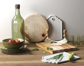Kitchenware with Vegetables 3D life