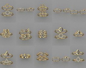 27 pieces new gold rings 3D print model