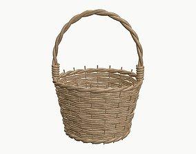 wicker basket bin 3D PBR