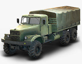 Low Poly Kraz 255 Flatbed 3D model VR / AR ready