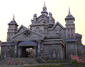 3D model medieval castle building architercture tower 1
