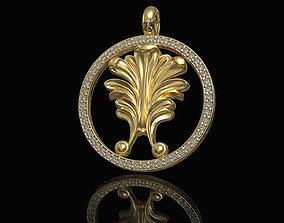 Vintage Leaf pendant with diamond frame 3D printable model