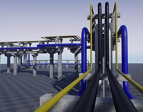 Modular Industrial Pipe Concrete Trestle 3D asset