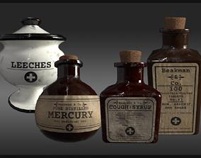 3D model Plague Doctor Medicine Bottles