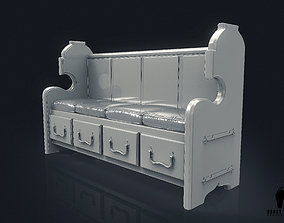 3D Church Bench with Cushions