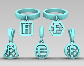 Initial letter charm with 5 different 3D print model 3