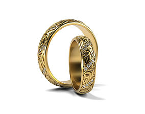 3D print model Wedding rings Leaf with stones