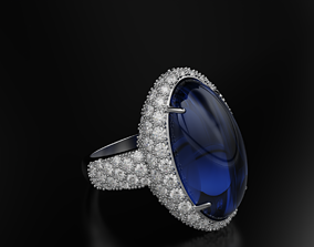 3D print model Cabochon ring with diamonds 600