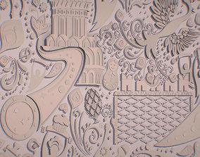 3D model Russian geometric tile ornament decoration 1