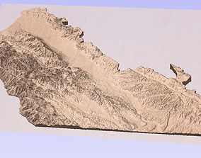 3D satellite terrain model of Monterey county California