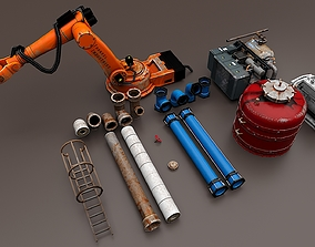 Industrial Props Set 3D model rigged