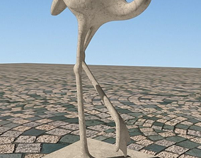 Flamingo Bird Sculpture 3D antic