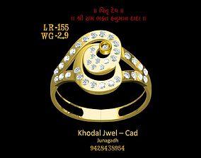 3D asset low-poly goldring ladies ring