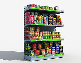 can Supermarket Shelves Canned Food 3D