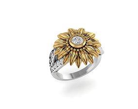 3D printable model jewellery Sunflower diamond ring