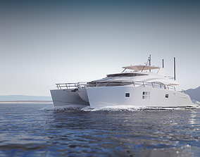 mid-poly 3D model Large luxurious catamaran