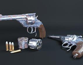 3D asset VR / AR ready Revolver rustedgun