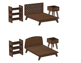 Miniature set of bedroom furniture for model making