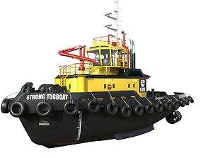 3D model realtime Tugboat lowpoly