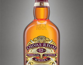 3D Chivas Regal 12 Bottle with Studio Setup