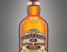 3D Chivas Regal 12 Bottle with Studio Setup