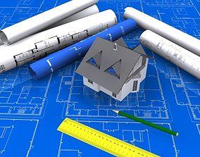 Architectural Blueprint house 3D model