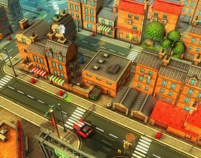 Cartoon Town Lowpoly 3D model